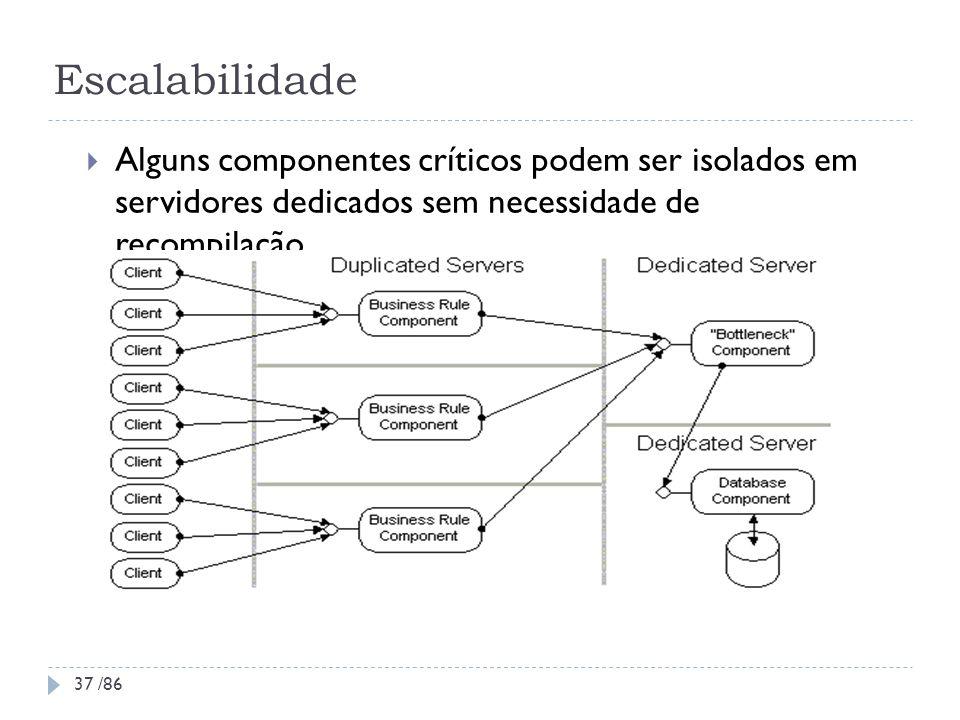 Escalabilidade Alguns componentes críticos podem ser isolados em servidores dedicados sem necessidade de recompilação 37 /86
