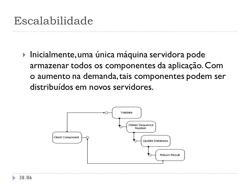 Escalabilidade Inicialmente, uma única máquina servidora pode armazenar todos os componentes da aplicação. Com o aumento na demanda, tais componentes