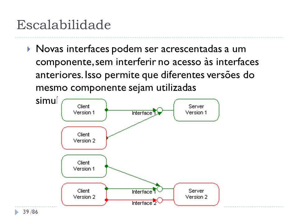 Escalabilidade Novas interfaces podem ser acrescentadas a um componente, sem interferir no acesso às interfaces anteriores. Isso permite que diferente