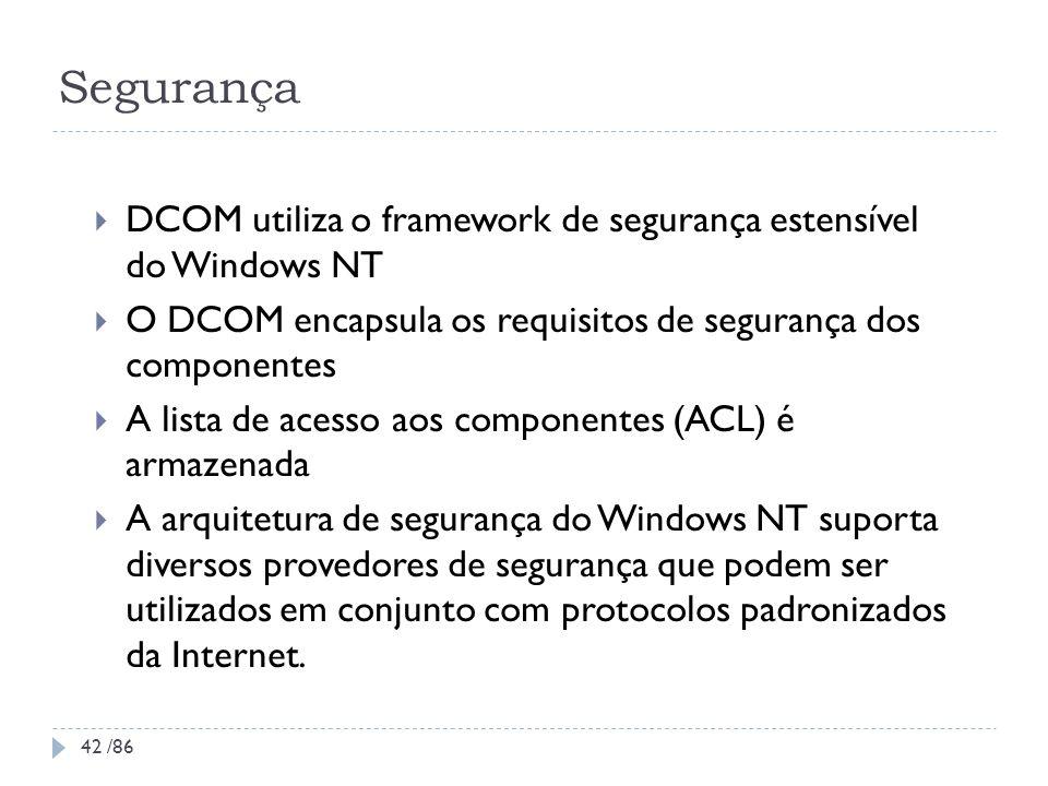 Segurança DCOM utiliza o framework de segurança estensível do Windows NT O DCOM encapsula os requisitos de segurança dos componentes A lista de acesso