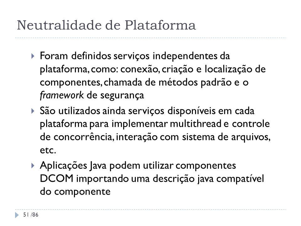 Neutralidade de Plataforma Foram definidos serviços independentes da plataforma, como: conexão, criação e localização de componentes, chamada de métod