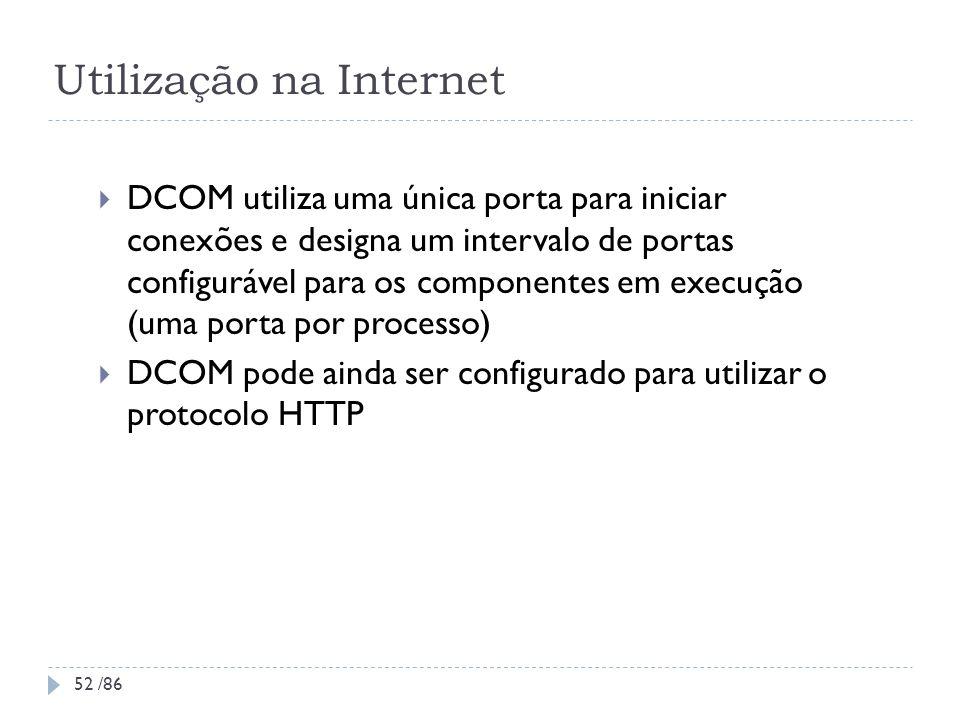 Utilização na Internet DCOM utiliza uma única porta para iniciar conexões e designa um intervalo de portas configurável para os componentes em execuçã