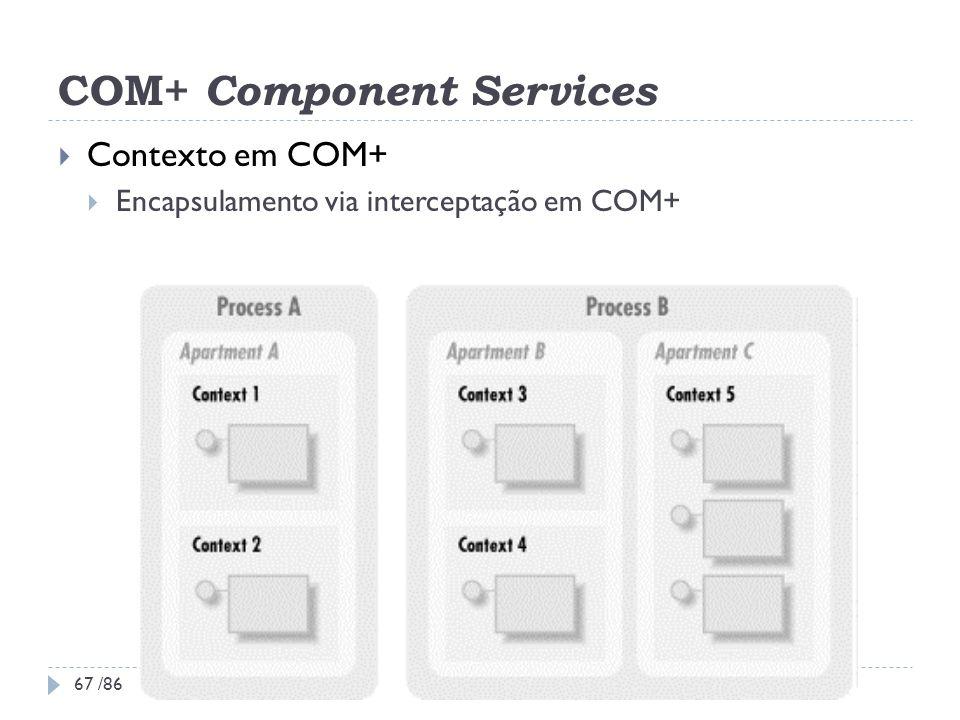 COM+ Component Services Contexto em COM+ Encapsulamento via interceptação em COM+ 67 /86