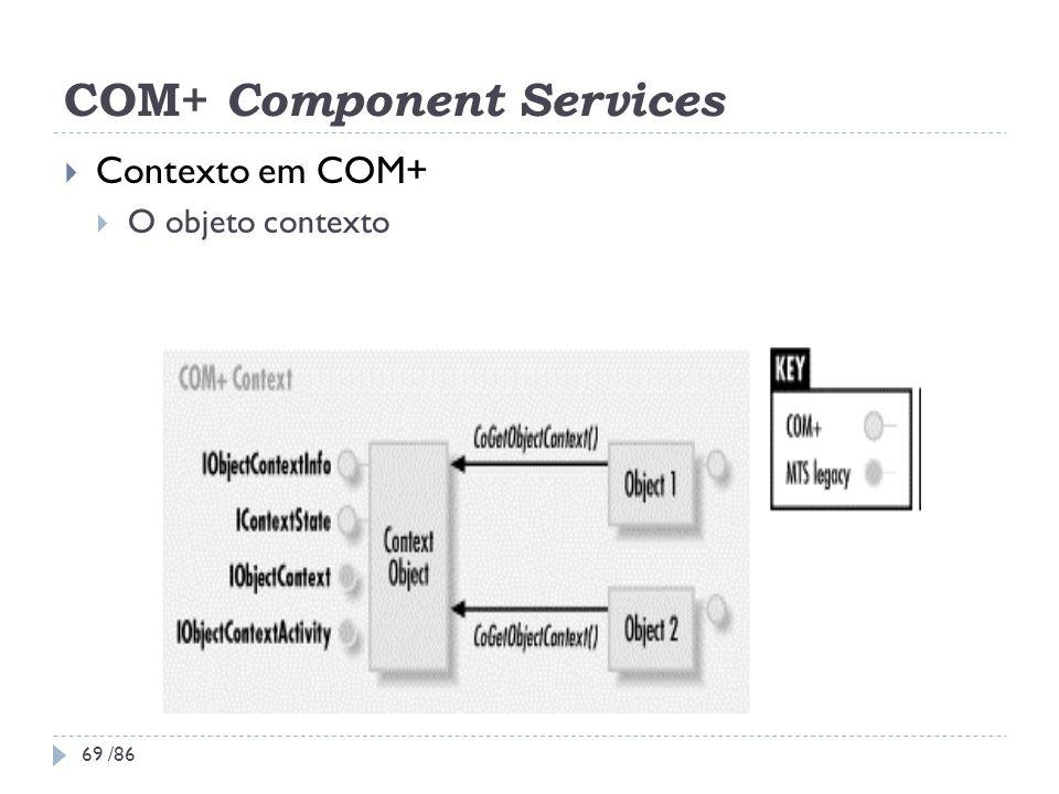 COM+ Component Services Contexto em COM+ O objeto contexto 69 /86