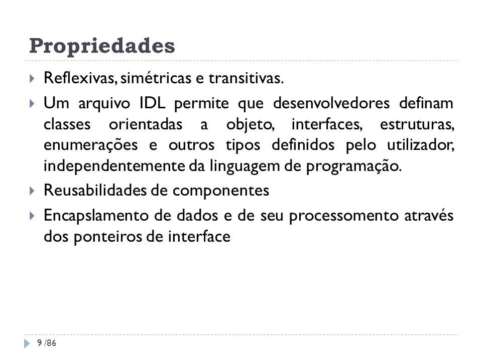 Propriedades Reflexivas, simétricas e transitivas. Um arquivo IDL permite que desenvolvedores definam classes orientadas a objeto, interfaces, estrutu
