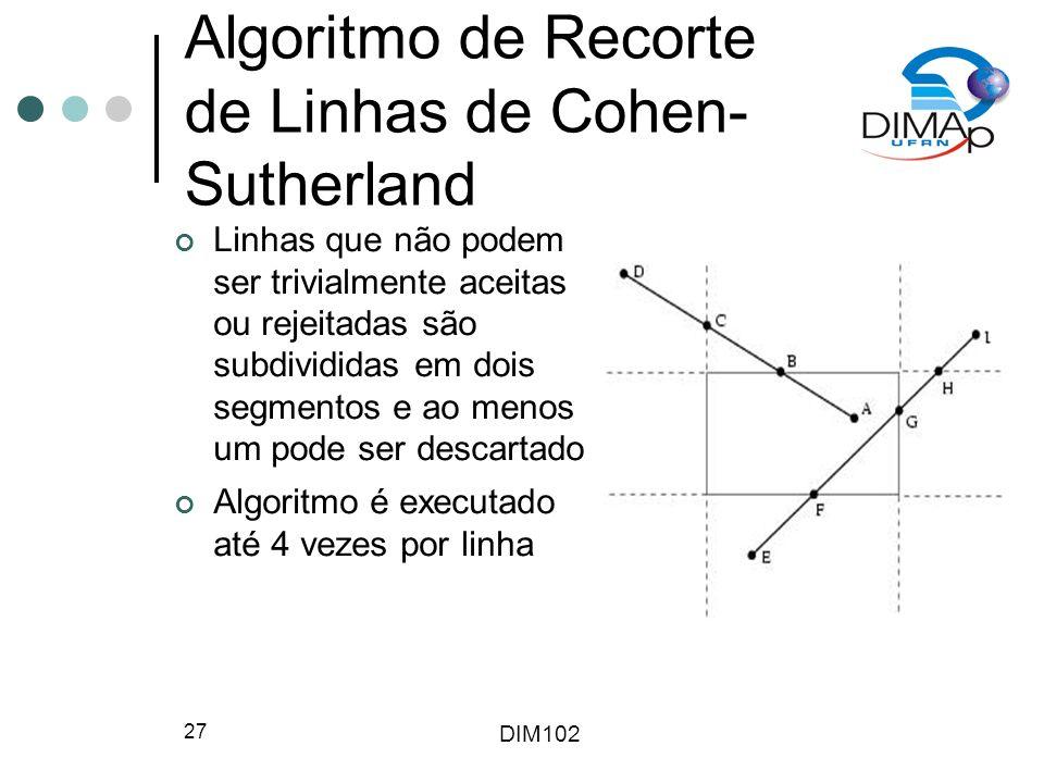 DIM102 27 Algoritmo de Recorte de Linhas de Cohen- Sutherland Linhas que não podem ser trivialmente aceitas ou rejeitadas são subdivididas em dois segmentos e ao menos um pode ser descartado Algoritmo é executado até 4 vezes por linha