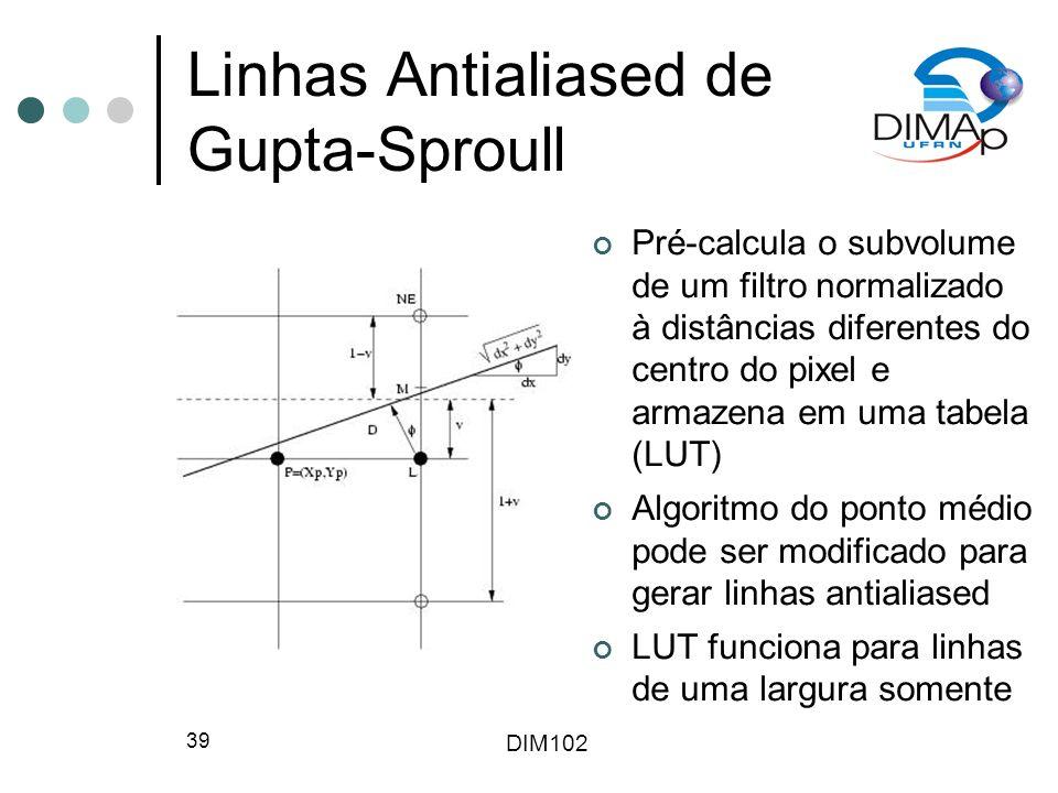 DIM102 39 Linhas Antialiased de Gupta-Sproull Pré-calcula o subvolume de um filtro normalizado à distâncias diferentes do centro do pixel e armazena em uma tabela (LUT) Algoritmo do ponto médio pode ser modificado para gerar linhas antialiased LUT funciona para linhas de uma largura somente