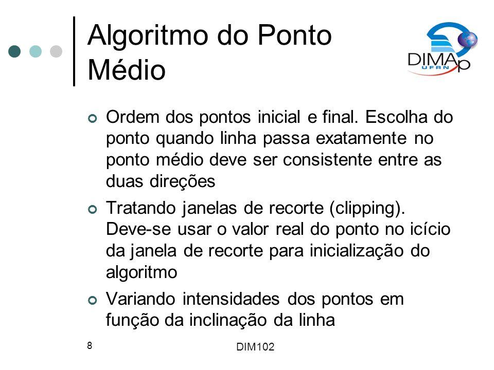 DIM102 8 Algoritmo do Ponto Médio Ordem dos pontos inicial e final.