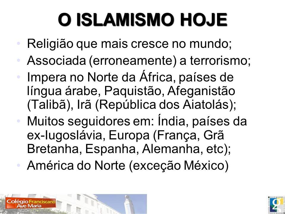O ISLAMISMO HOJE Religião que mais cresce no mundo; Associada (erroneamente) a terrorismo; Impera no Norte da África, países de língua árabe, Paquistã