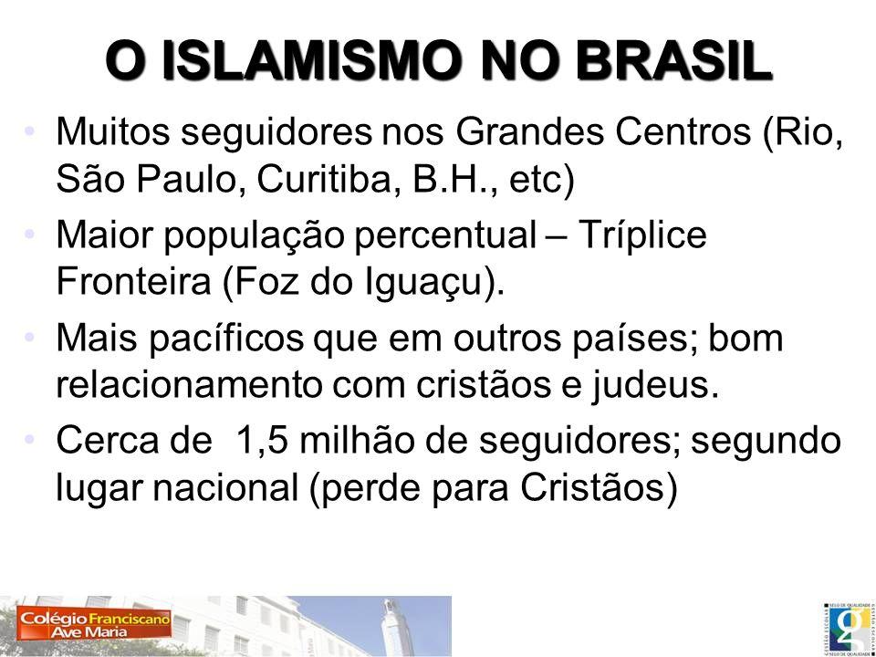 O ISLAMISMO NO BRASIL Muitos seguidores nos Grandes Centros (Rio, São Paulo, Curitiba, B.H., etc) Maior população percentual – Tríplice Fronteira (Foz