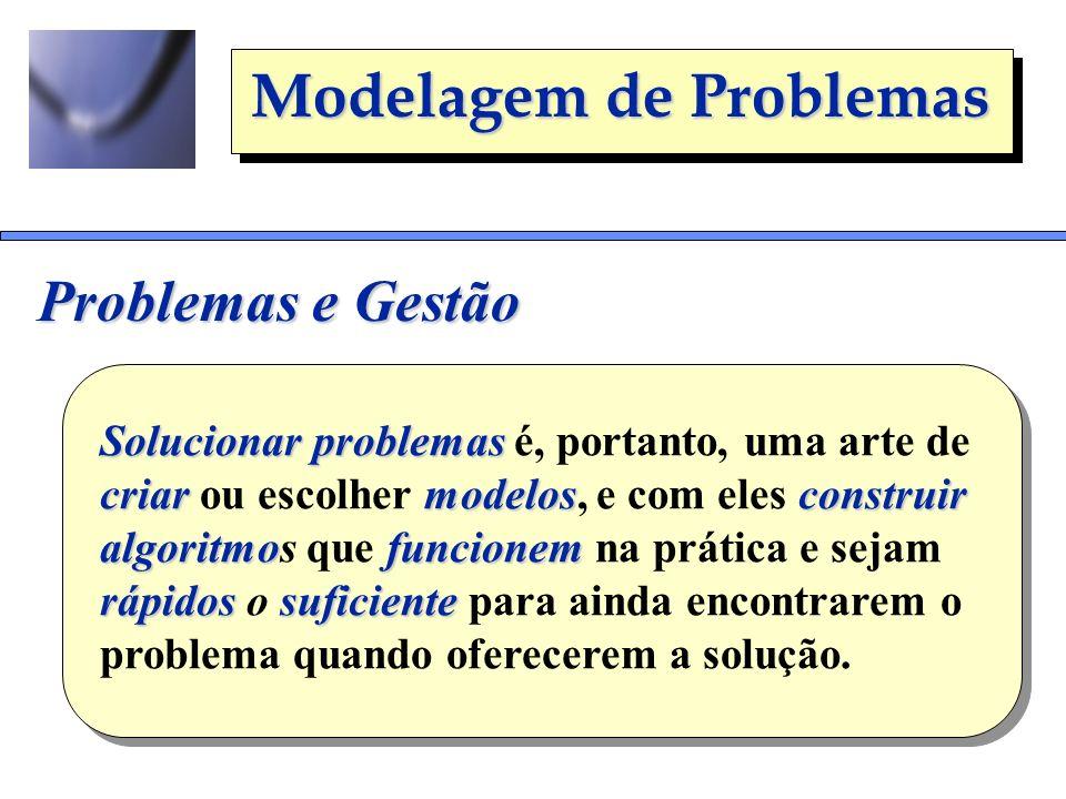 Modelagem de Problemas Problemas e Gestão Solucionarproblemas Solucionar problemas é, portanto, uma arte de criarmodelosconstruir criar ou escolher mo