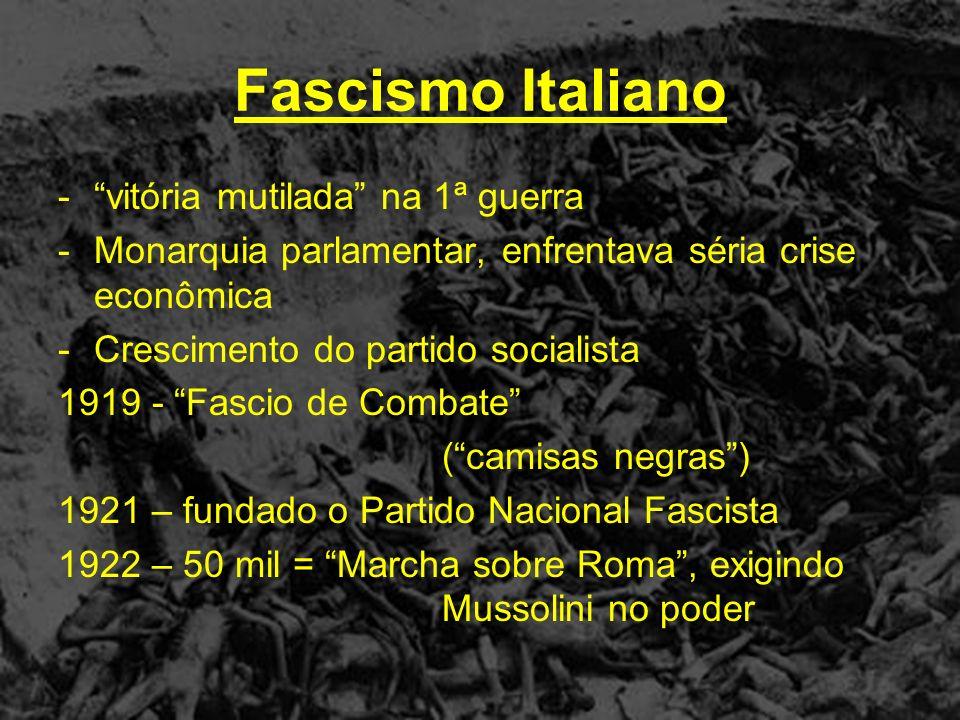 Benito Mussolini (1883 – 1945) - assume o poder como DUCE 1929 – Tratado de Latrão Itália + Igreja Católica - criação do estado do Vaticano - Catolicismo = religião oficial do fascismo