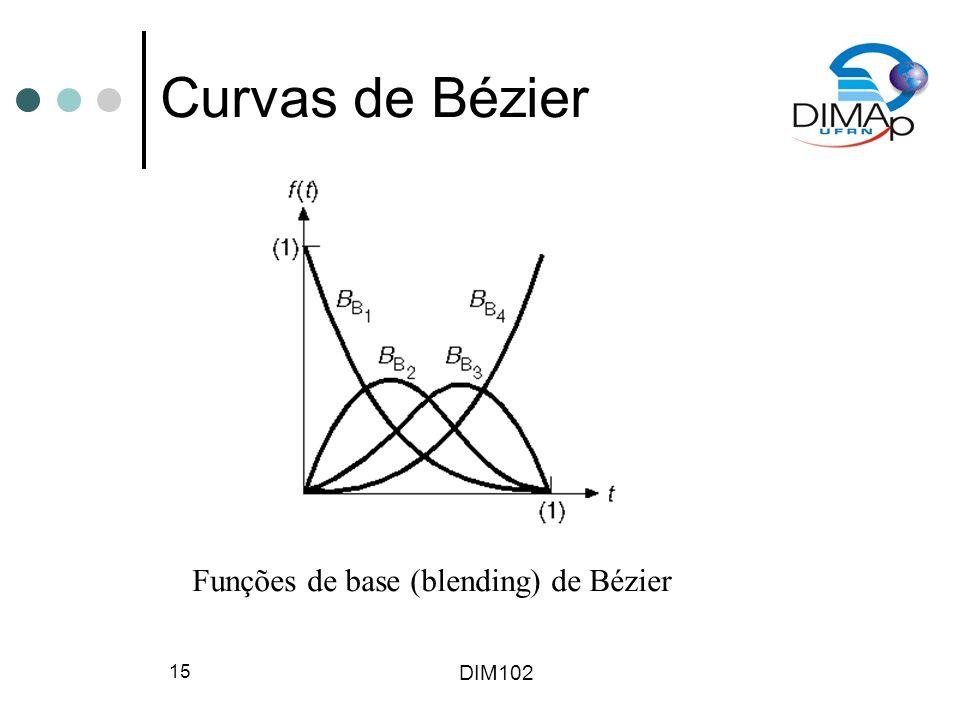 DIM102 15 Curvas de Bézier Funções de base (blending) de Bézier
