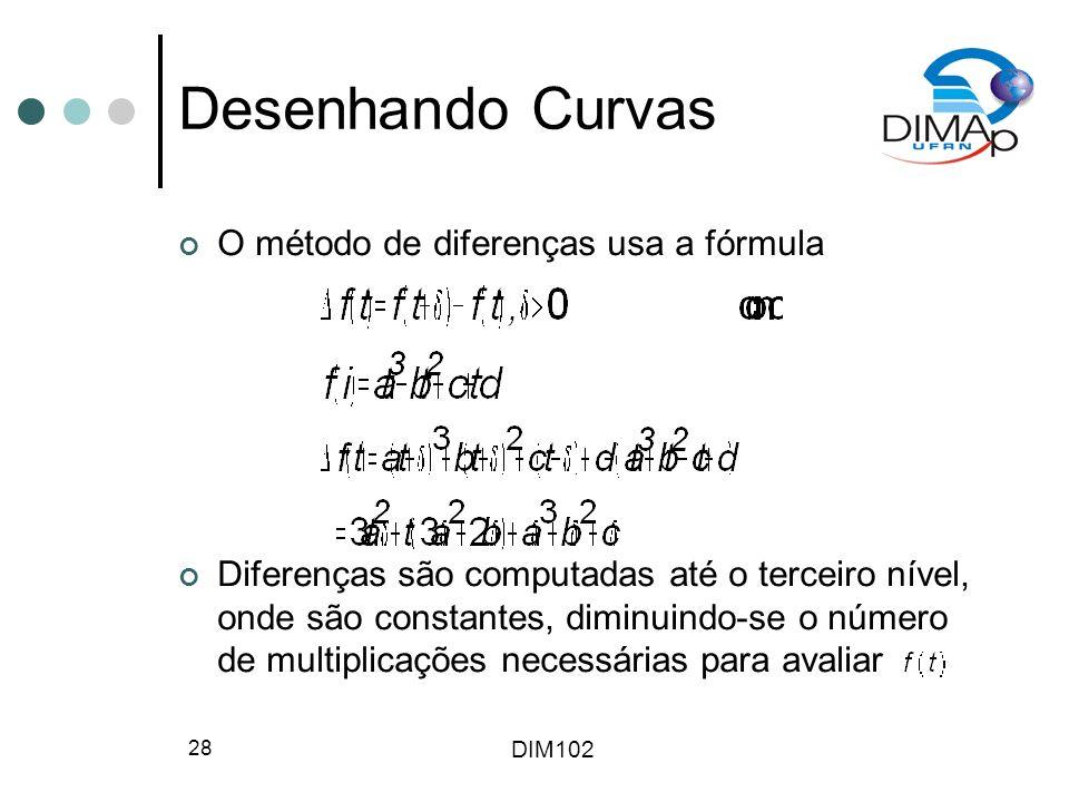 DIM102 28 Desenhando Curvas O método de diferenças usa a fórmula Diferenças são computadas até o terceiro nível, onde são constantes, diminuindo-se o número de multiplicações necessárias para avaliar