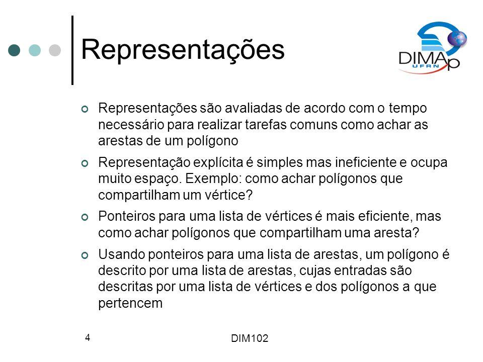 DIM102 4 Representações Representações são avaliadas de acordo com o tempo necessário para realizar tarefas comuns como achar as arestas de um polígono Representação explícita é simples mas ineficiente e ocupa muito espaço.