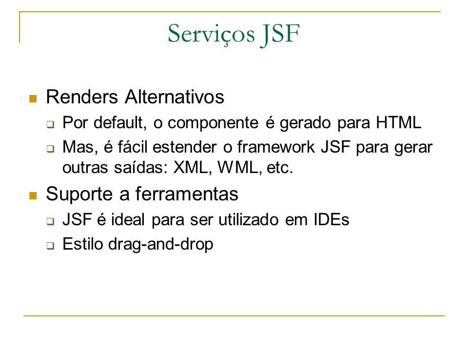 Serviços JSF Renders Alternativos Por default, o componente é gerado para HTML Mas, é fácil estender o framework JSF para gerar outras saídas: XML, WM