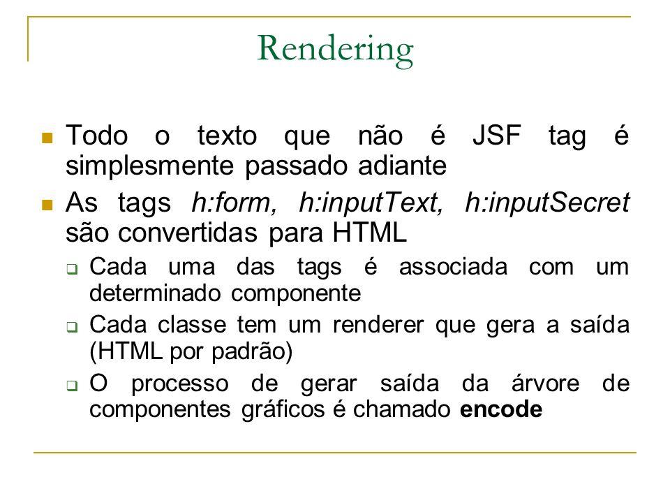 Rendering Todo o texto que não é JSF tag é simplesmente passado adiante As tags h:form, h:inputText, h:inputSecret são convertidas para HTML Cada uma
