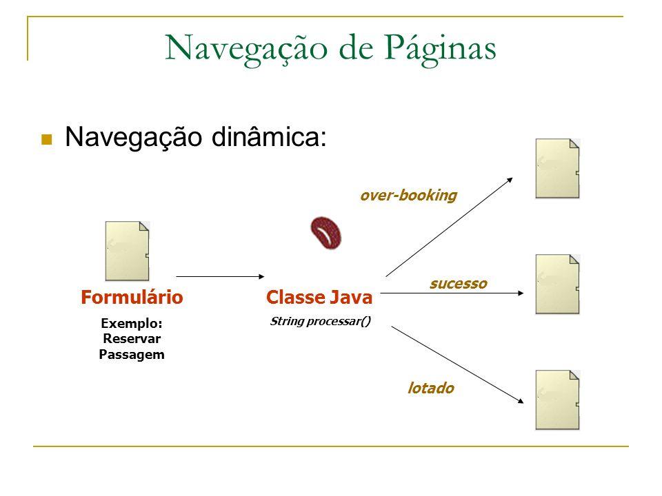 Navegação de Páginas Navegação dinâmica: Formulário Exemplo: Reservar Passagem Classe Java String processar() over-booking sucesso lotado