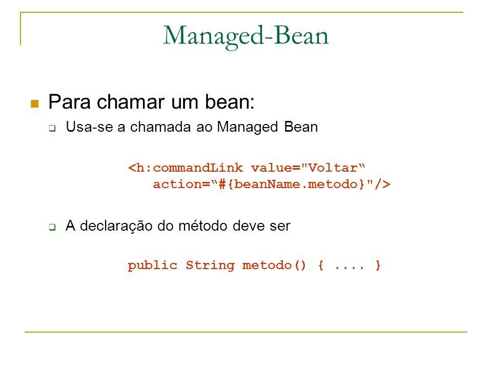 Managed-Bean Para chamar um bean: Usa-se a chamada ao Managed Bean A declaração do método deve ser public String metodo() {.... }