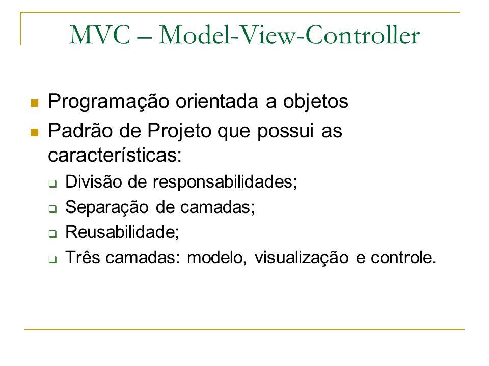 MVC – Model-View-Controller Camada de Apresentação JSP, Swing, SWT Camada de Aplicação Façades, Bussines Delegates, Actions Camada de Domínio Objetos de domínio, lógica de negócio Camada de Persistência DAOs, JDBC, Hibernate