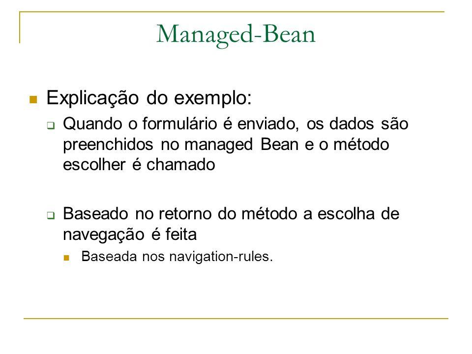 Managed-Bean Explicação do exemplo: Quando o formulário é enviado, os dados são preenchidos no managed Bean e o método escolher é chamado Baseado no r