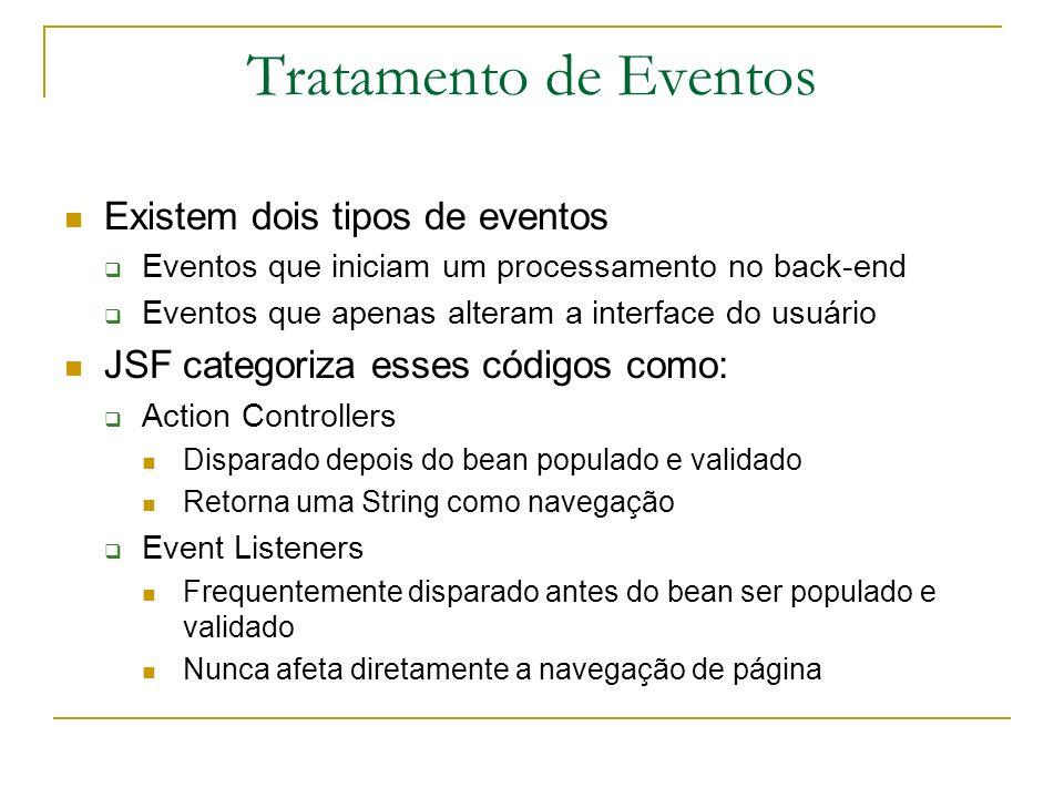 Tratamento de Eventos Existem dois tipos de eventos Eventos que iniciam um processamento no back-end Eventos que apenas alteram a interface do usuário