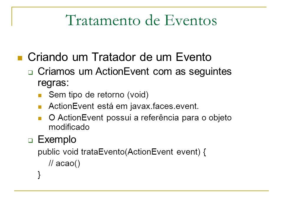 Tratamento de Eventos Criando um Tratador de um Evento Criamos um ActionEvent com as seguintes regras: Sem tipo de retorno (void) ActionEvent está em