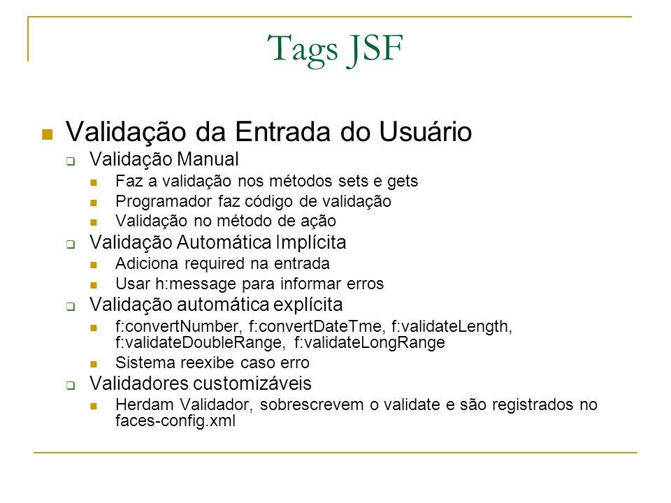 Tags JSF Validação da Entrada do Usuário Validação Manual Faz a validação nos métodos sets e gets Programador faz código de validação Validação no mét