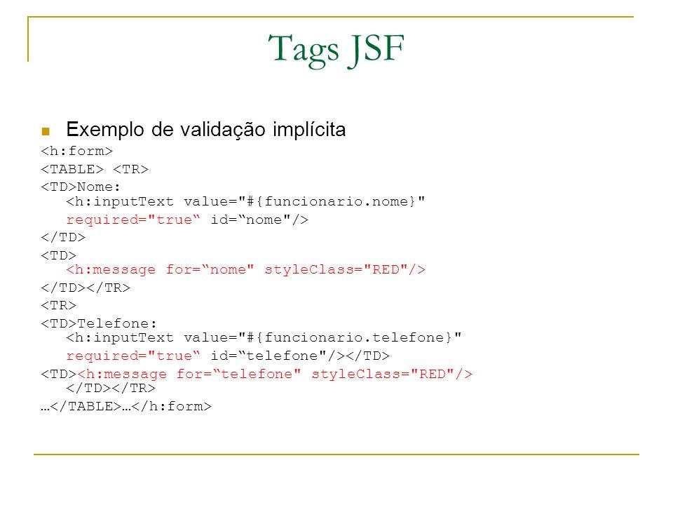 Tags JSF Exemplo de validação implícita Nome: <h:inputText value=