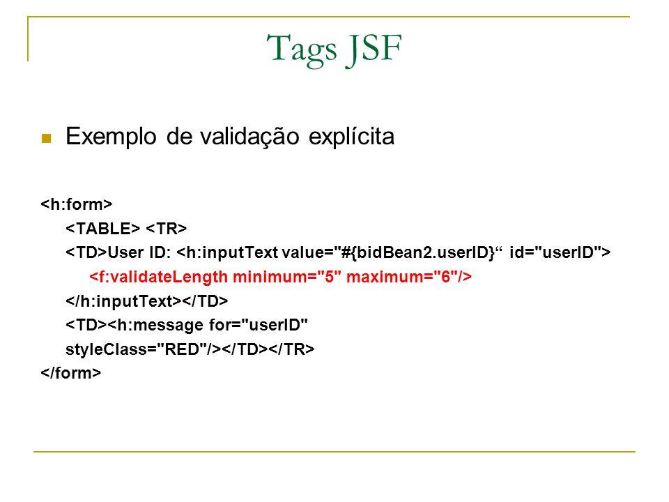 Tags JSF Exemplo de validação explícita User ID: <h:message for=