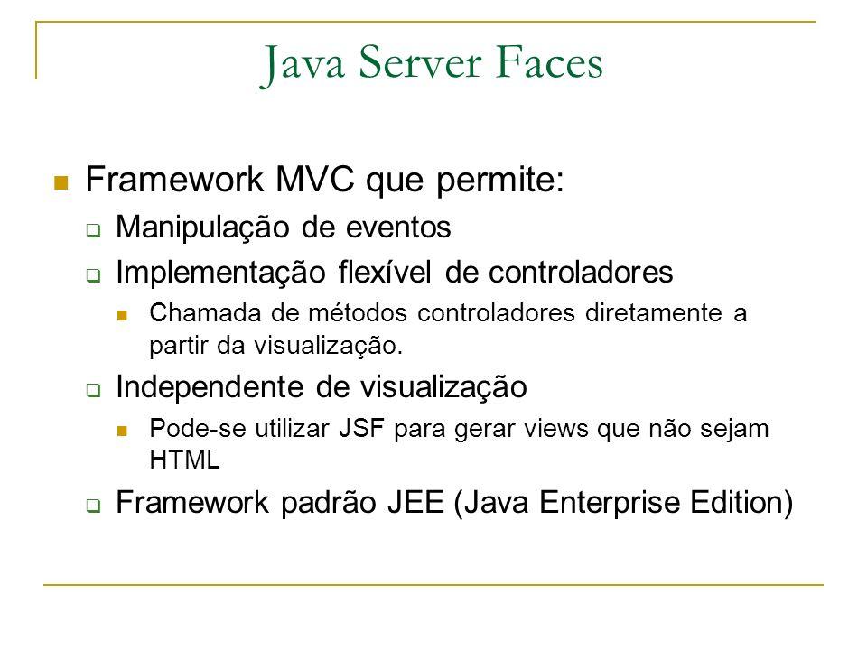 Instalando o Java Server Faces Para utilização do JSF em um projeto é necessário: Copiar os JARs para a pasta WEB-INF/lib: jsf-api.jar jsf-impl.jar libs comons JSTL libs Criar um arquivo de configuração: faces-config.xml