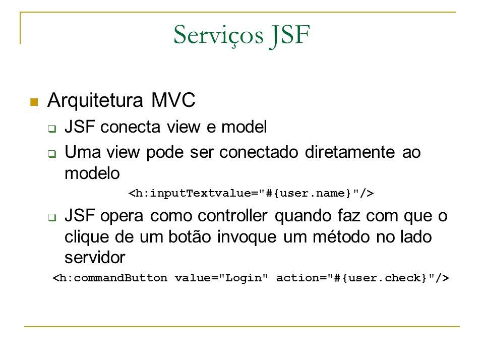 Serviços JSF Conversão de Dados Usuários entram dados em formato String Objetos de negócio necessitam de Strings, inteiros, decimais e datas JSF faz a conversão automática dos dados Validação e Tratamento de Erros JSF torna fácil a inclusão de validações como: valor requerido, valor deve ser inteiro Ao entrar com dados inválidos, faz-se necessário mostrar os dados errados JSF trata da maior parte da tarefa tediosa de converter dados e validar/tratar erros