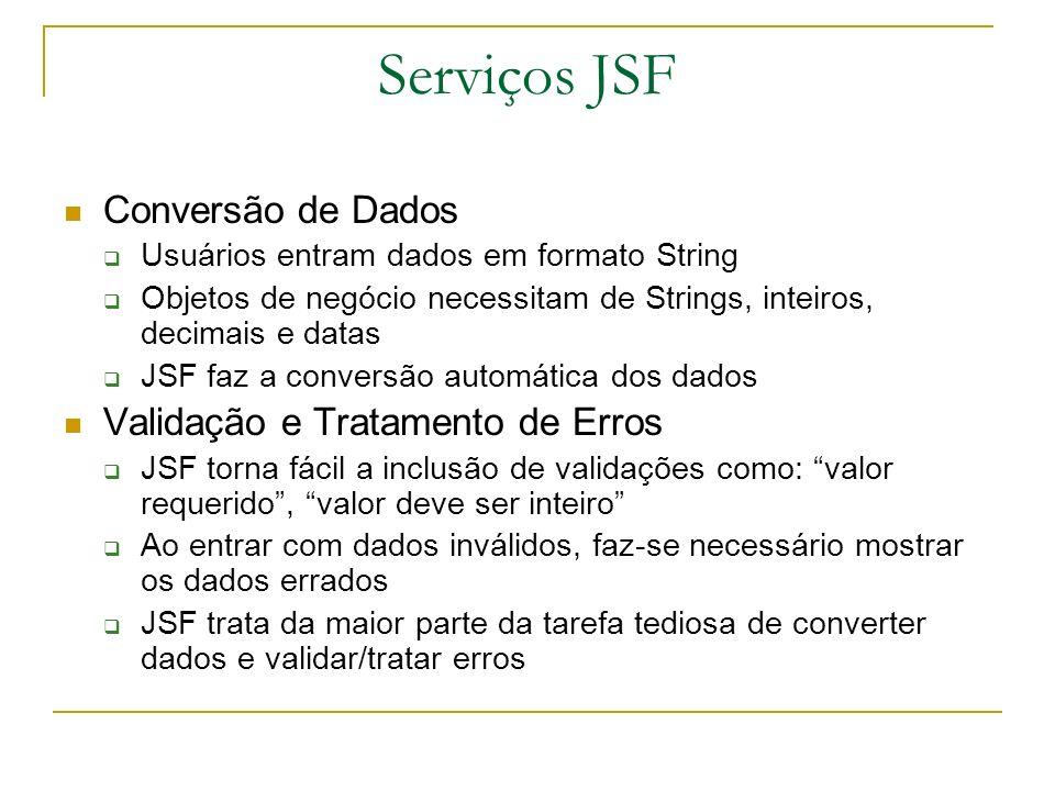 Serviços JSF Conversão de Dados Usuários entram dados em formato String Objetos de negócio necessitam de Strings, inteiros, decimais e datas JSF faz a