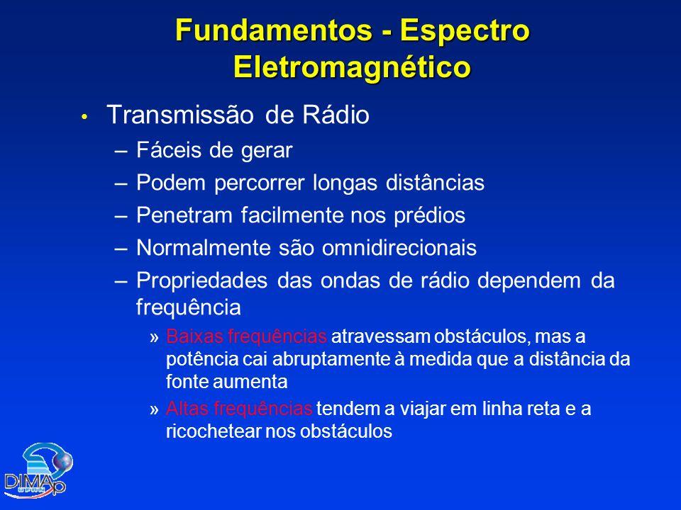 Fundamentos - Espectro Eletromagnético Transmissão de Rádio – –Fáceis de gerar – –Podem percorrer longas distâncias – –Penetram facilmente nos prédios – –Normalmente são omnidirecionais – –Propriedades das ondas de rádio dependem da frequência » »Baixas frequências atravessam obstáculos, mas a potência cai abruptamente à medida que a distância da fonte aumenta » »Altas frequências tendem a viajar em linha reta e a ricochetear nos obstáculos