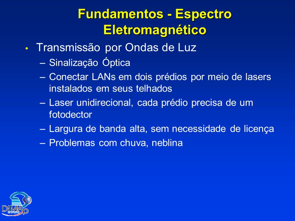 Fundamentos - Espectro Eletromagnético Transmissão por Ondas de Luz – –Sinalização Óptica – –Conectar LANs em dois prédios por meio de lasers instalad