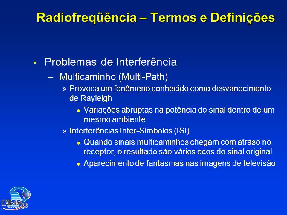 Radiofreqüência – Termos e Definições Problemas de Interferência – – Multicaminho (Multi-Path) » »Provoca um fenômeno conhecido como desvanecimento de