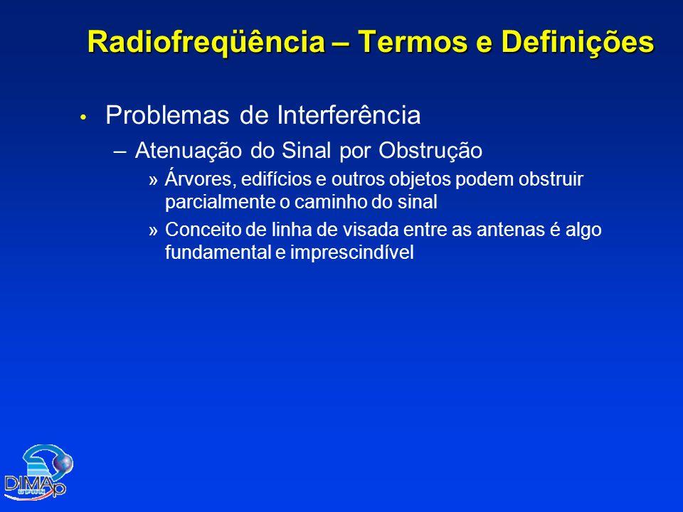 Radiofreqüência – Termos e Definições Problemas de Interferência – –Atenuação do Sinal por Obstrução » »Árvores, edifícios e outros objetos podem obst