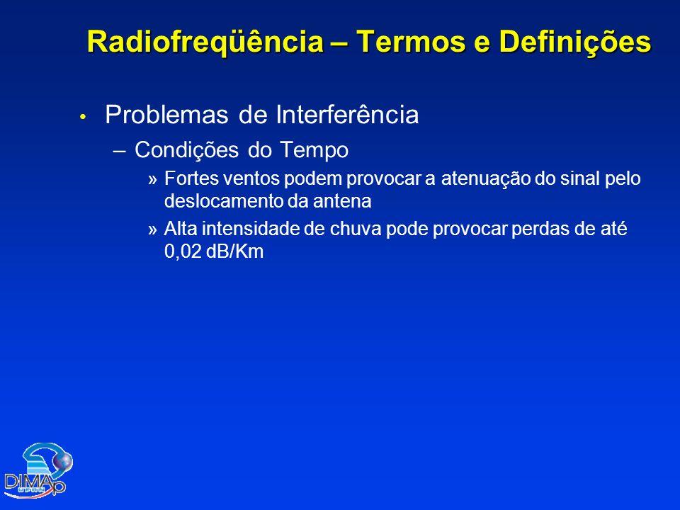 Radiofreqüência – Termos e Definições Problemas de Interferência – –Condições do Tempo » »Fortes ventos podem provocar a atenuação do sinal pelo deslo