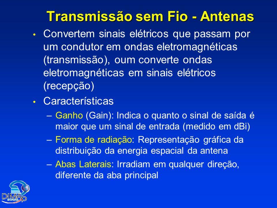 Transmissão sem Fio - Antenas Convertem sinais elétricos que passam por um condutor em ondas eletromagnéticas (transmissão), oum converte ondas eletromagnéticas em sinais elétricos (recepção) Características – –Ganho (Gain): Indica o quanto o sinal de saída é maior que um sinal de entrada (medido em dBi) – –Forma de radiação: Representação gráfica da distribuição da energia espacial da antena – –Abas Laterais: Irradiam em qualquer direção, diferente da aba principal