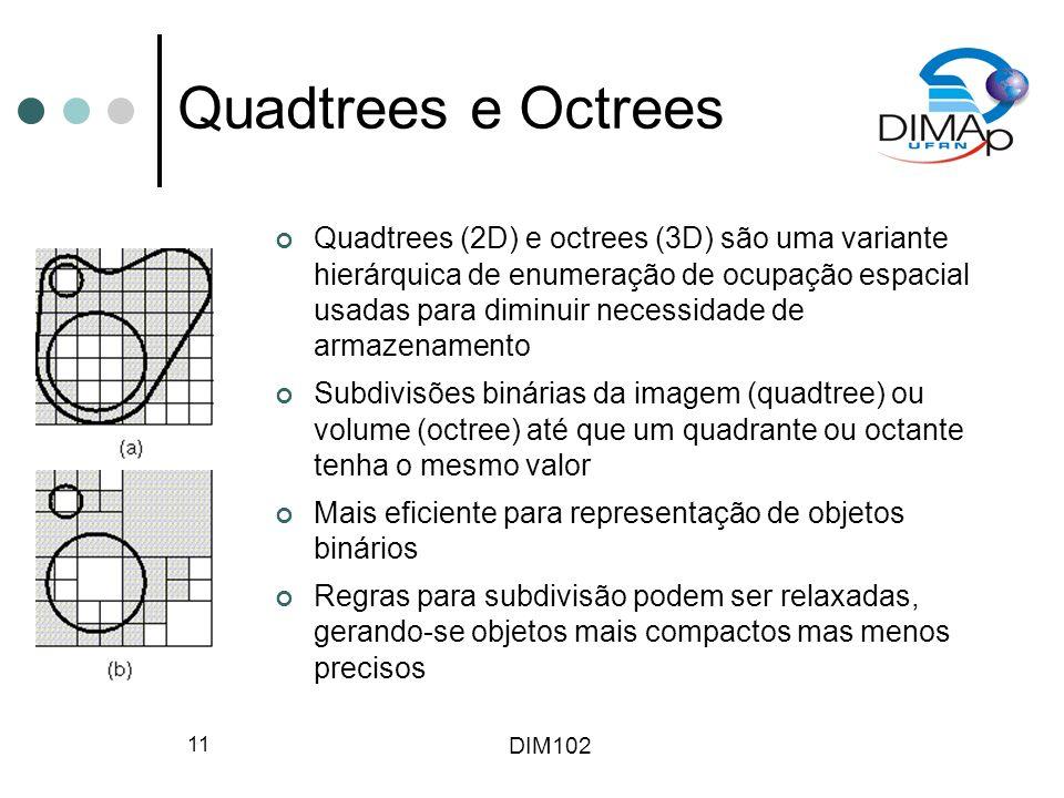 DIM102 11 Quadtrees e Octrees Quadtrees (2D) e octrees (3D) são uma variante hierárquica de enumeração de ocupação espacial usadas para diminuir neces