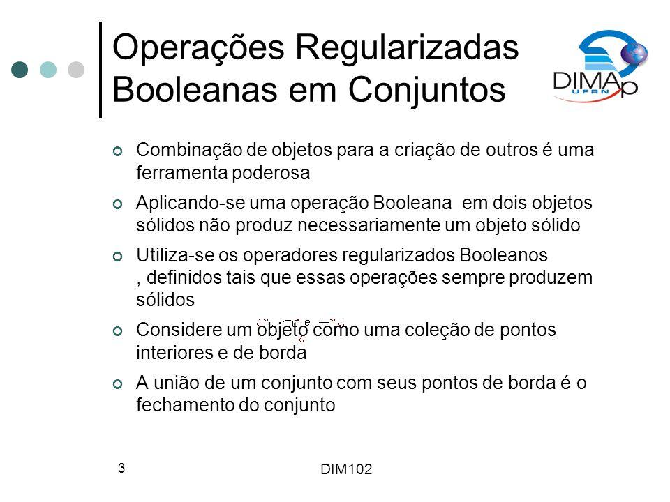 DIM102 3 Operações Regularizadas Booleanas em Conjuntos Combinação de objetos para a criação de outros é uma ferramenta poderosa Aplicando-se uma oper