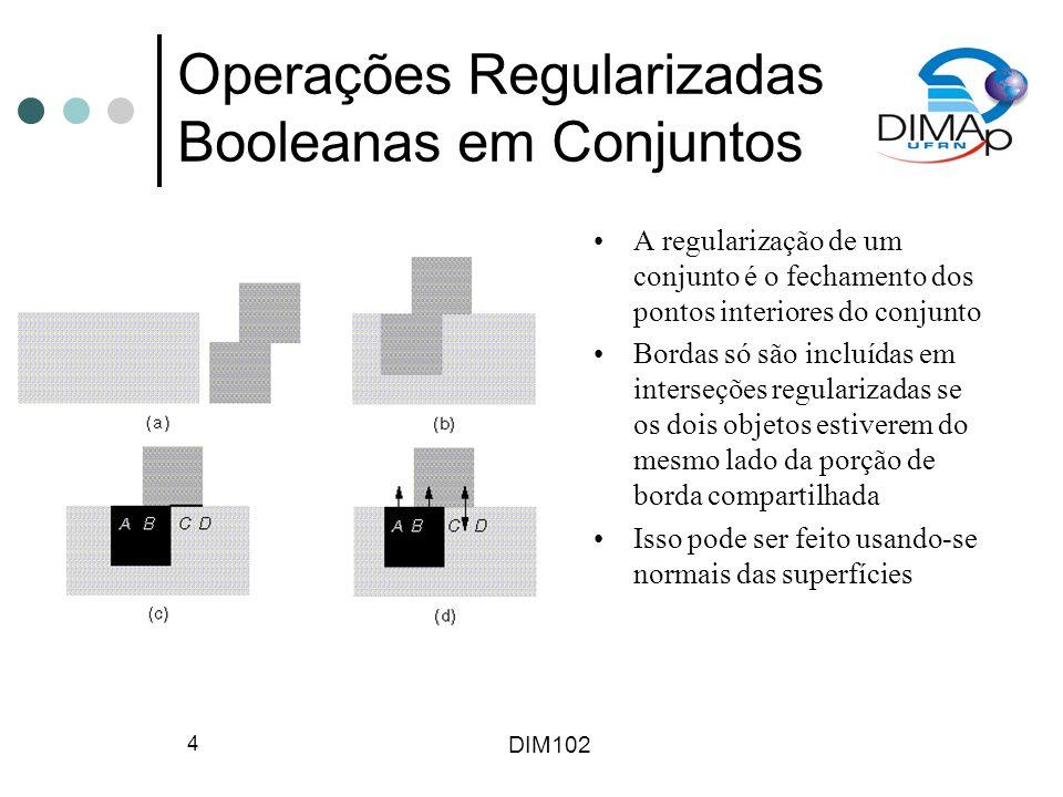 DIM102 4 Operações Regularizadas Booleanas em Conjuntos A regularização de um conjunto é o fechamento dos pontos interiores do conjunto Bordas só são