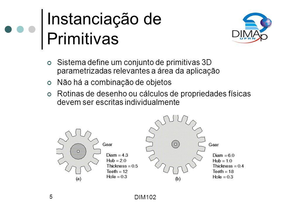 DIM102 5 Instanciação de Primitivas Sistema define um conjunto de primitivas 3D parametrizadas relevantes a área da aplicação Não há a combinação de o