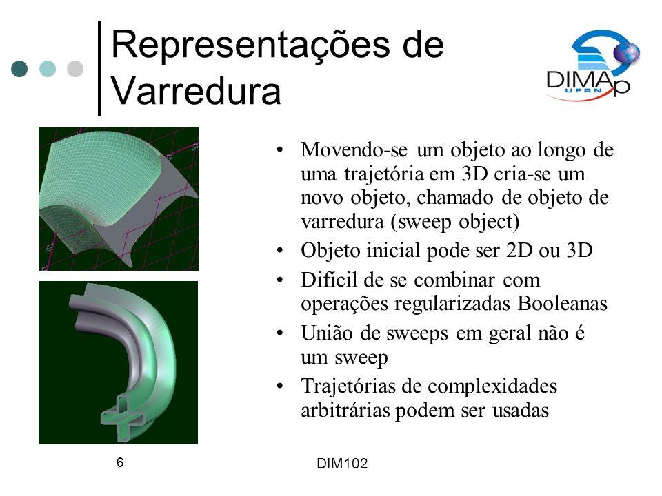 DIM102 6 Representações de Varredura Movendo-se um objeto ao longo de uma trajetória em 3D cria-se um novo objeto, chamado de objeto de varredura (swe