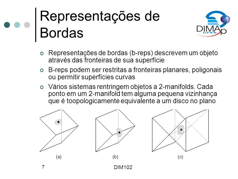 DIM102 7 Representações de Bordas Representações de bordas (b-reps) descrevem um objeto através das fronteiras de sua superfície B-reps podem ser rest