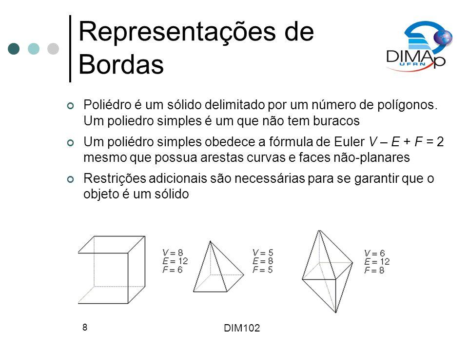 DIM102 8 Representações de Bordas Poliédro é um sólido delimitado por um número de polígonos. Um poliedro simples é um que não tem buracos Um poliédro