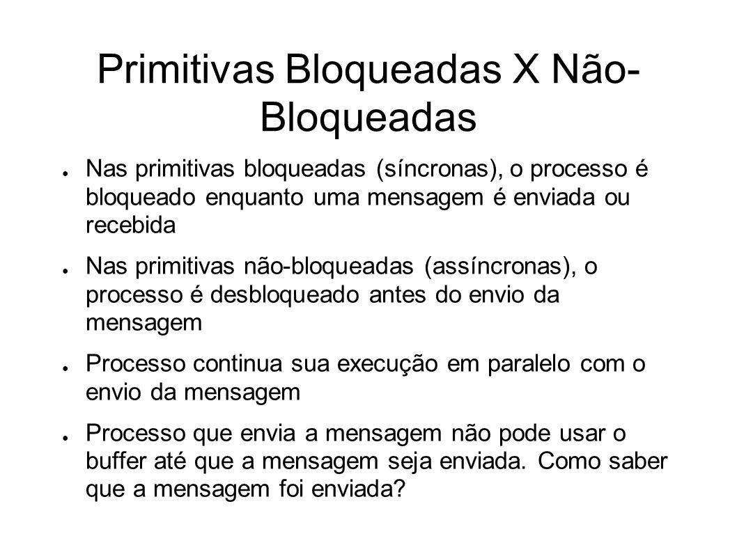 Primitivas Bloqueadas X Não- Bloqueadas Nas primitivas bloqueadas (síncronas), o processo é bloqueado enquanto uma mensagem é enviada ou recebida Nas