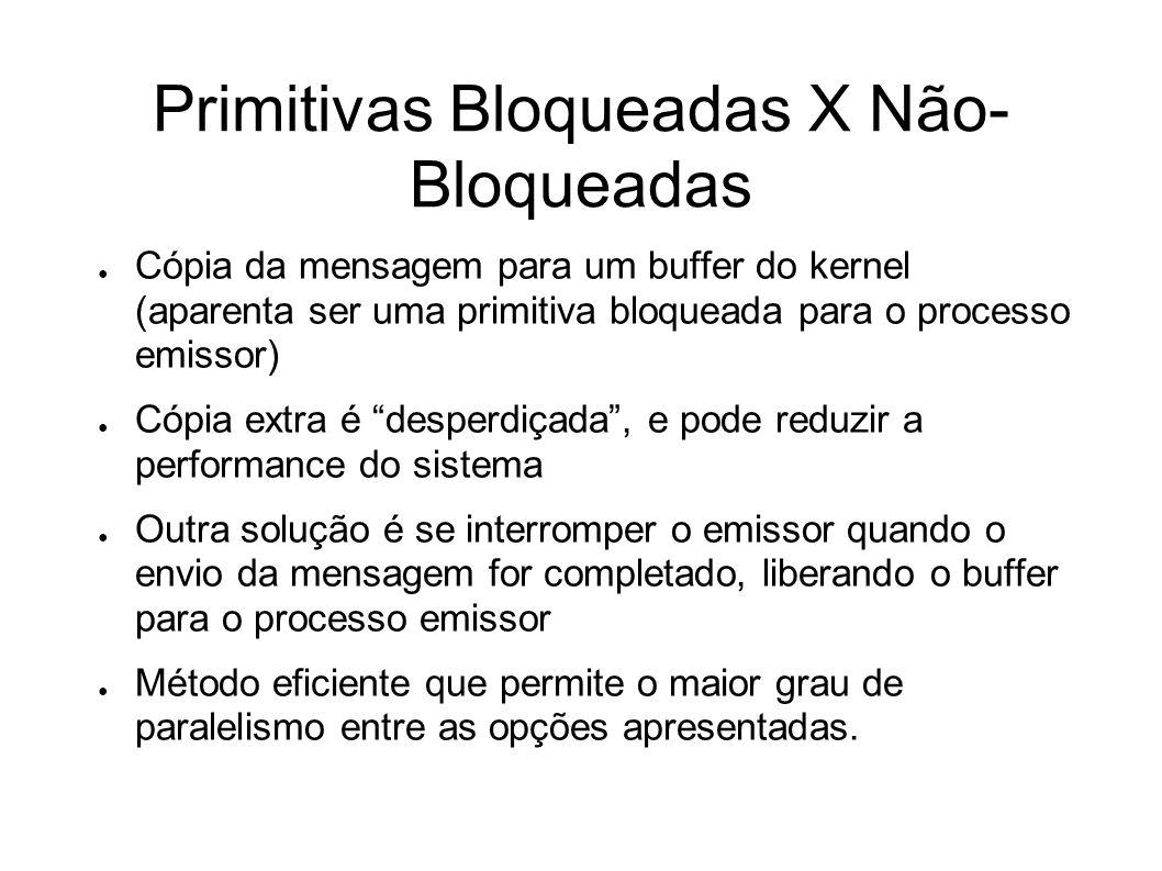 Primitivas Bloqueadas X Não- Bloqueadas Cópia da mensagem para um buffer do kernel (aparenta ser uma primitiva bloqueada para o processo emissor) Cópi