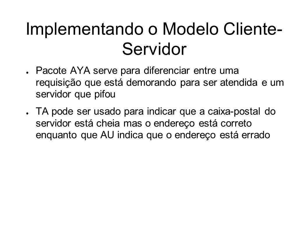 Implementando o Modelo Cliente- Servidor Pacote AYA serve para diferenciar entre uma requisição que está demorando para ser atendida e um servidor que pifou TA pode ser usado para indicar que a caixa-postal do servidor está cheia mas o endereço está correto enquanto que AU indica que o endereço está errado