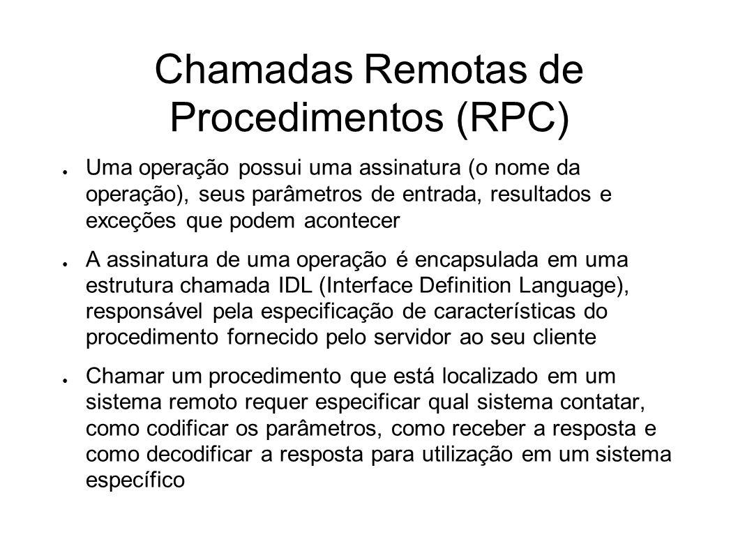 Chamadas Remotas de Procedimentos (RPC) Uma operação possui uma assinatura (o nome da operação), seus parâmetros de entrada, resultados e exceções que
